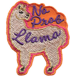 A fluffy llama looks back at the words 'No Prob' which hover over its back. The word 'Llama' is written on the llama's side.