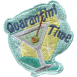 A martini glass containing an olive on a stick is tilted to the left. Above it is the word Quarantini and to the side of the glass is the word Time. The background consists of a bright yellow oval tilted in the opposite direction of the glass. Three shine sparkles decorate the background, two on the right and one on the left.