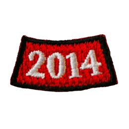 This arched rocker is a red rectangle where the middle of the rectangle dips lower than the two edges. A black laser border edges this patch and the numbers '2016' represents the year.