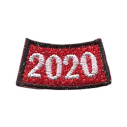 This arched rocker is a red rectangle where the middle of the rectangle dips lower than the two edges. A black border edges this patch and the numbers \'2020\' represents the year.