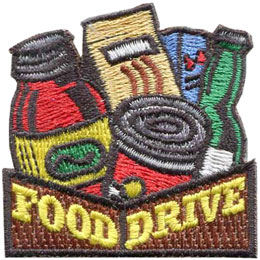Food, Drive, Grocery, Groceries, Bank, Can, Jar, Patch, Embroidered Patch, Merit Badge, Badge, Emblem, Iron On, Iron-On, Crest, Lapel Pin, Insignia, Girl Scouts, Boy Scouts, Girl Guides