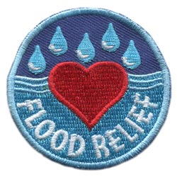 Flood, Relief, Heart, Drops, Alberta, River, Water, Patch, Embroidered Patch, Merit Badge, Badge, Emblem, Iron On, Iron-On, Crest, Lapel Pin, Insignia, Girl Scouts, Boy Scouts, Girl Guides
