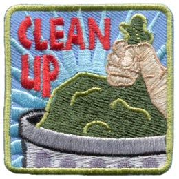 Clean, Garbage, Bag, Trash, Dump, Recycle, Embroidered Patch, Merit Badge, Badge, Emblem, Iron On, Iron-On, Crest, Lapel Pin, Insignia, Girl Scouts, Boy Scouts, Girl Guides