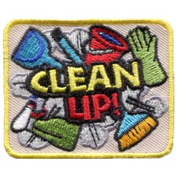 This square patch contains the words 'Clean Up' over top of a collage of cleaning supplies such as a broom, mop, gloves, a spray bottle, a bucket, and a bunch of cloths.