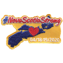 A hashtag sits in front of the words Nova Scotia Strong. Underneath is the province of Nova Scotia with a heart in the middle.