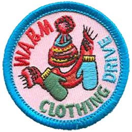 Warm Clothing Drive, Mitts, Hat, Scarf, Toque, Clothes, Patch, Embroidered Patch, Merit Badge, Crest, Girl Scouts, Boy Scouts, Girl Guides