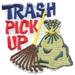 Trash Pick Up, Clean Up, Rake, Garbage, Trash, Help, Patch, Embroidered Patch, Merit Badge, Crest, Girl Scouts, Boy Scouts, Girl Guides