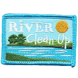 River, Clean Up, Clean-up, Lake, Stream, Creek, Sun, Water, Patch, Embroidered Patch, Merit Badge, Iron On, Iron-On, Crest, Girl Scouts, Boy Scouts, G