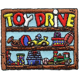 This square patch is in the shape of a three-level shelf. The top shelf has the words 'Toy Drive', the middle and bottom shelves hold a variety of toys.