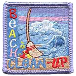 Beach, Cleanup, Clean up, Clean-up, River, Shore, Coast, Coastal, Shoreline, Broom, Waves, Ocean, Lake, Pond, Patch, Embroidered Patch, Merit Badge, C
