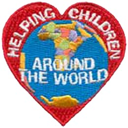 Helping Children Around the World, heart, globe, help, community service, Patch, Embroidered Patch, Merit Badge, Crest, Girl Scouts, Boy Scouts, Girl