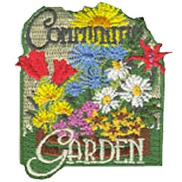 Community Garden, Flowers, Plants, Garden, Bloom, Gardening, Help, Patch, Embroidered Patch, Merit Badge, Crest, Girl Scouts, Boy Scouts, Girl Guides