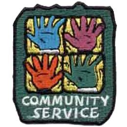 Community Service, Hands, Help, Helping, Patch, Embroidered Patch, Merit Badge, Crest, Girl Scouts, Boy Scouts, Girl Guides