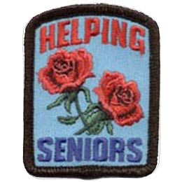 Two blooming roses decorate the center of this patch with the words ''Helping'' in red at the top and ''Seniors'' in blue at the bottom.