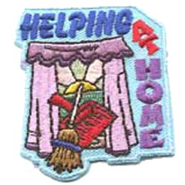 Help, Home, Broom, Dust, Pan, Window, Patch, Embroidered Patch, Merit Badge, Badge, Emblem, Iron On, Iron-On, Crest, Lapel Pin, Insignia, Girl Scouts, Boy Scouts, Girl Guides