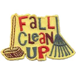 The words ''Fall Clean Up'' take up the majority of this roughly square patch. A push broom sits on the left and a rake on the right.