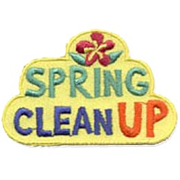 This yellow background patch has an orchid on top, followed by the stacked words ''Spring'' and ''Clean Up.''