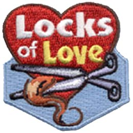 A heart contains the words ''Locks of Love'' as scissors are displayed cutting a lock of hair.