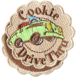 Cookie, Blitz, Drive, Drive Through, Drive Thru, Car, Truck, Patch, Embroidered Patch, Merit Badge, Badge, Emblem, Iron On, Iron-On, Crest, Lapel Pin, Insignia, Girl Scouts, Boy Scouts, Girl Guides