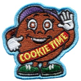 A personified cookie stands proudly with one hand raised in greeting and the other giving a thumbs up. The cookie is wearing a hat, shoes, gloves, and a sash that reads 'Cookie Time'.