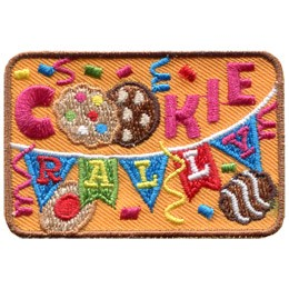 This rectangular patch displays the words 'Cookie Rally' where the double 'o' in cookie is shown with two cookies and 'rally' is written with each letter on a triangular banner flag. Streamers and confetti fall in the background.