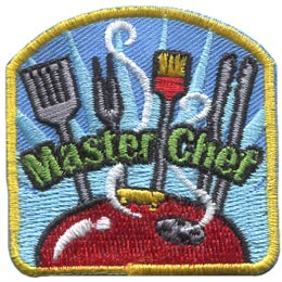 A spatula, fork, brush, and a set of tongs stand proudly over a steaming barbecue lid. The words ''Master Chef'' are embroidered over-top of the utensils.