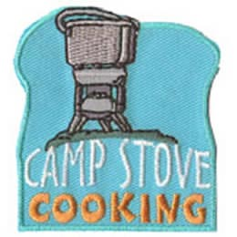 Camp, Stove, Cooking, Cook, Hiking, Hike, Backpacking, Backpack, Patch, Embroidered Patch, Merit Badge, Badge, Emblem, Iron On, Iron-On, Crest, Lapel Pin, Insignia, Girl Scouts, Boy Scouts, Girl Guide