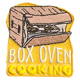 Box, Oven, Cook, Cooking, Bake, Baking, Patch, Embroidered Patch, Merit Badge, Badge, Emblem, Iron On, Iron-On, Crest, Lapel Pin, Insignia, Girl Scout
