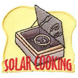 Solar, Cooking, Cook, Sun, Camp, Patch, Embroidered Patch, Merit Badge, Badge, Emblem, Iron On, Iron-On, Crest, Lapel Pin, Insignia, Girl Scouts, Boy Scouts, Girl Guides