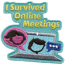 A laptop displays a boy on the screen while a speech bubble pops up on the side, showing that a girl is talking. The text above says, \'I Survived Online Meetings.\'