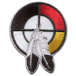 A circle contains another circle with both circles divided by a horizontal line and a vertical line going through the center of the circles. This is a cultural symbol: the healing circle. Two eagle feathers dangle downwards from the center of the circles.