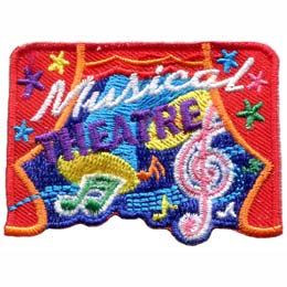 Star studded red curtains frame a stage where spot lights illuminates the dance of musical notes. The words ''Musical Theatre'' are embroidered near the top center of the patch.