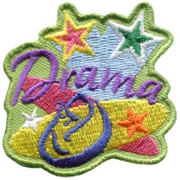 The word ''Drama'' is surrounded by spotlights, shooting stars, and a performance mask.