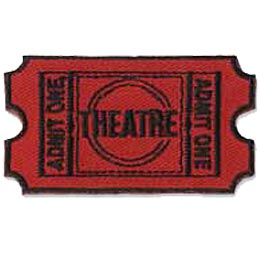 Theatre, Theater, Stage, Ticket, Act, Performance, Show, Patch, Embroidered Patch, Merit Badge, Badge, Emblem, Iron On, Iron-On, Crest, Lapel Pin, Insignia, Girl Scouts, Boy Scouts, Girl Guides
