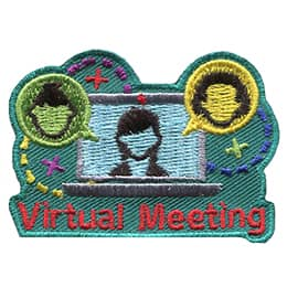 A laptop has the outline of a female on the screen. A speech bubble with a male head inside it pops out of the laptop to the left and a female one does the same on the right. Underneath the laptop are the words Virtual Meeting.