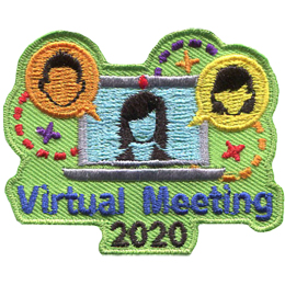 A laptop has the outline of a female on the screen. A speech bubble with a male head inside it pops out of the laptop to the left and a female one does the same on the right. Underneath the laptop are the words Virtual Meeting 2020.