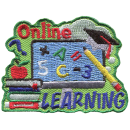 A computer displays (from left to right): a plus sign, the letter A, and equal sign, the number 5, the letter C, a minus sign, and the number 3. Above the computer is the word Online and below the computer is Learning. Stacked to the left of Learning is a bunch of books with an apple on top. Hanging on the top right of the computer is a graduation hat.
