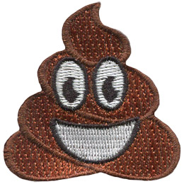 This patch is a grinning turd with big, oval eyes.