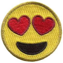 A yellow circle forms a smiley face with hearts for eyes, and a big open-mouth smile.