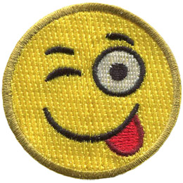 A yellow circle forms a smiley face with one eye winking and its tongue sticking out.