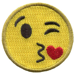 A yellow circle forms a smiley face with one eye closed in a wink, kissy lips, and a red heart.