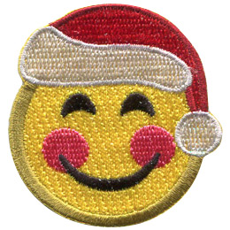 A yellow circle forms a smiley face with happy eyes, a big U shaped smile, red rosy cheeks, and a Santa hat.