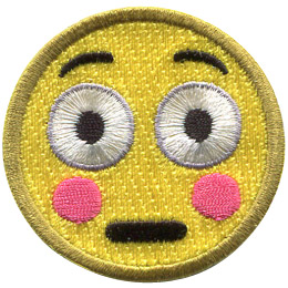 A yellow circle forms a embarrassed face with wide eyes and a blush colouring its cheeks.