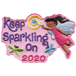A young girl fairy waves a magic wand over the words Keep Sparkling On 2020. The word On has a butterfly on either side of it.