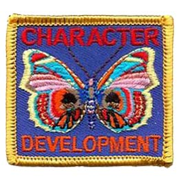 Character Development, Character, Development, Butterfly, Patch, Embroidered Patch, Merit Badge, Badge, Emblem, Iron On, Iron-On, Crest, Lapel Pin, Insignia, Girl Scouts, Boy Scouts, Girl Guides