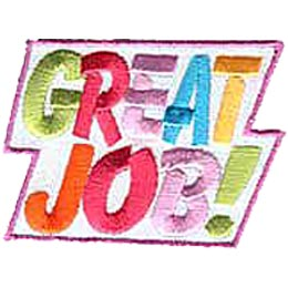 The words ''Great Job!'' fills this patch in multi-coloured letters.