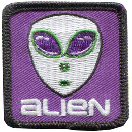 Alien, UFO, Science Fiction, ET, Patch, Embroidered Patch, Merit Badge, Badge, Emblem, Iron On, Iron-On, Crest, Lapel Pin, Insignia, Girl Scouts, Boy Scouts, Girl Guides