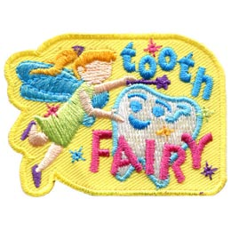 Tooth, Fairy, Teeth, Lost, Wand, Tinkerbell, Patch, Embroidered Patch, Merit Badge, Badge, Emblem, Iron On, Iron-On, Crest, Lapel Pin, Insignia, Girl Scouts, Boy Scouts, Girl Guides
