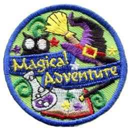 Magical, Adventure, Halloween, Witch, Owl, Hat, Potion, Broom, Spell, Wand, Star, Swirl, Patch, Embroidered Patch, Merit Badge, Badge, Emblem, Iron On, Iron-On, Crest, Lapel Pin, Insignia, Girl Scouts, Boy Scouts, Girl Guides