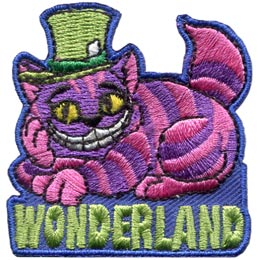 A grinning purple and pink striped cat lounges on the word ''Wonderland.'' The cat wears a green top hat.